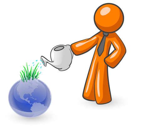 watering: Een oranje man drenken de aarde met gras kiemen eruit als resultaat. Stock Illustratie