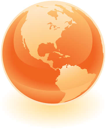A glossy bright orange glass globe with an etching of the americas on it.  Illustration