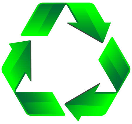 environmental awareness: An attractive version of the common recycling symbol. Environmental awareness symbol.