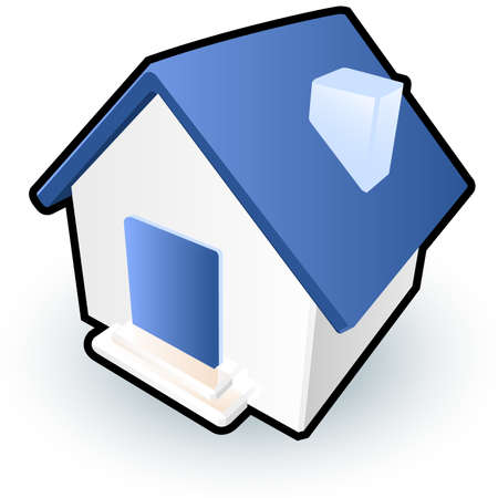 signify: A blue house icon to signify homepages on a website, or simply to serve as a cute house image.  Illustration