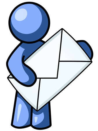 communication: a blue man holding an envelope and looking forward at the viewer.