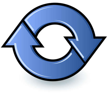 Two blue arrows cycling in a circle to show a refresh or recycle symbol.  Vector