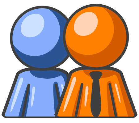 buddy: Blue and orange man standing side by side as a team.  Illustration