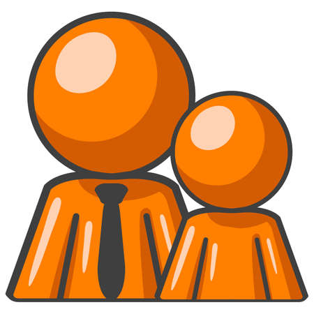 sitter: Orange man and child sitting loyally side by side. Illustration
