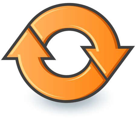 opfrissen: Twee pijlen fietsen in een cirkel, zoals een browser vernieuwen pictogram of recyclen. Stock Illustratie