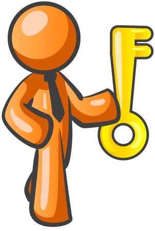 success key: An orange man holding the key to his success.