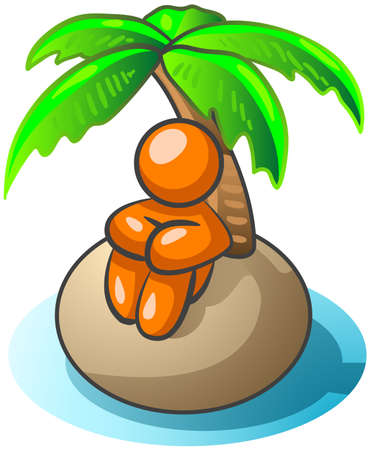 stranded: An orange man on an island taking a vacation, or perhaps standed! Illustration