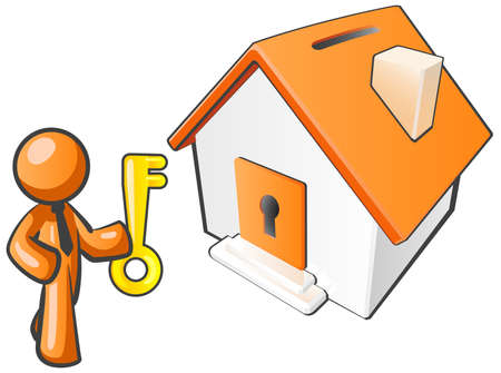 banking concept: An orange man with a key to his new home, which amazingly is also orange.  Illustration