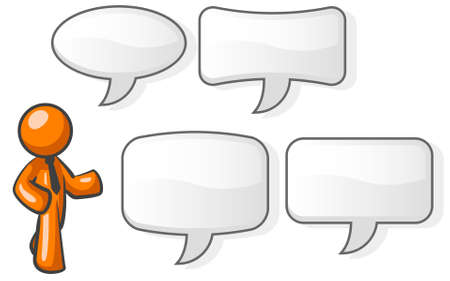 orange man: An orange man in a speaking pose with four word bubbles to choose from to accompany him.