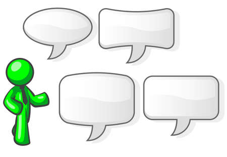 illustrates: A green man in a speaking pose with four word bubbles to choose from to accompany him.  Illustration