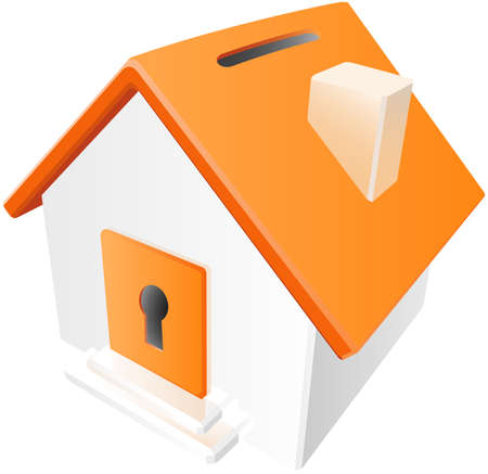 A home with a slot for money and a key to open it to retrieve savings. Concept in home investment.