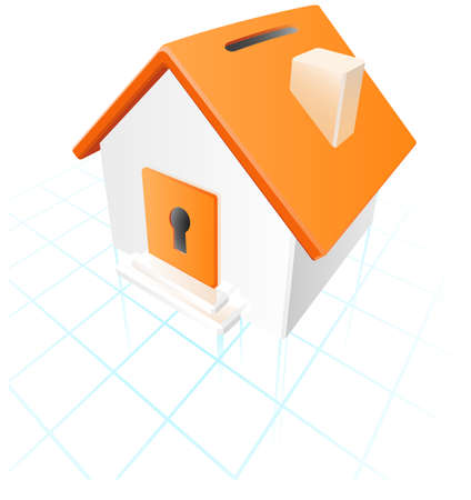 principal: A house bank placed on technical paper. A concept in planning for home investment.