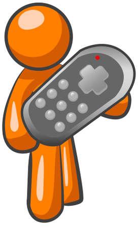 controller: An orange man holding a remote controller.  Illustration