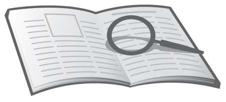 archivi: Un libro di base e la lente di ingrandimento. Per buona tenuta dei registri, archivi, notizie, regista, ecc  Vettoriali