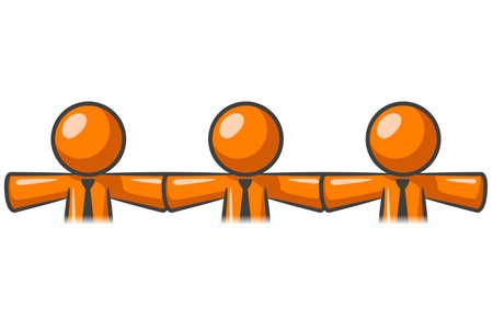 Orange man chain of teamwork.