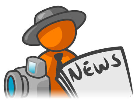 An orange man with a news paper and camera in front of him.