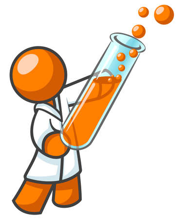 equipment experiment: An orange man scientist holding a test tube with bubbles coming out of it. It might be orange man DNA or blood.  Illustration