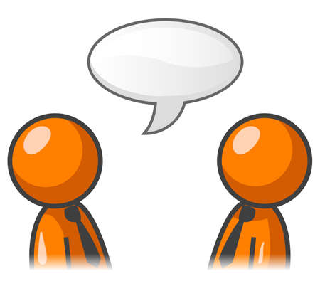 chat bubbles: Two orange men talking with a word bubble.
