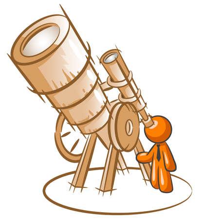 Orange man peering through old fashioned telescope, da vinci style.  Illustration