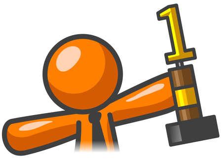 triumph: Orange man triumph and trophy.