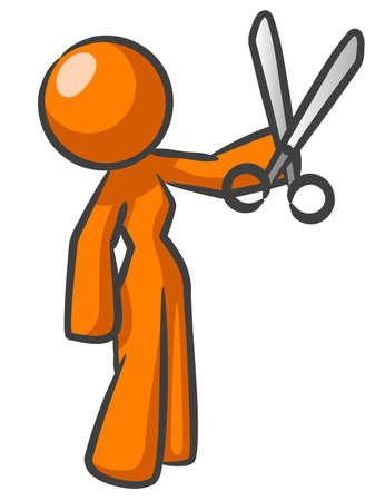 orange cut: Una mujer de color naranja con tijeras presumiblemente listo para cortar algo.