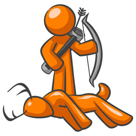 Orange Man standing behind a dead deer with his bow and arrow.