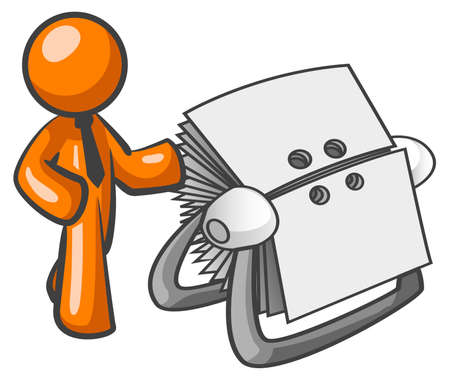 listing: Adem�s de hombre de color naranja un listado de directorio.
