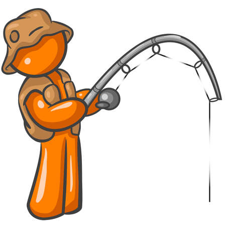 fishing pole: Orange Man holding a pole and fishing with a cute hat and vest.  Illustration