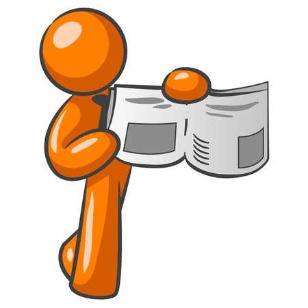 naranja caricatura: El hombre la celebraci�n de una naranja noticias papel y se�alando algo importante.