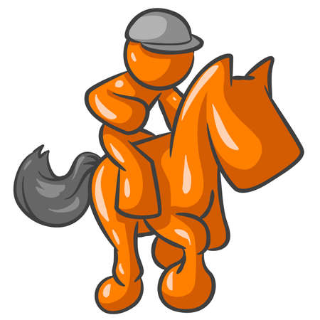 galop: Orange Man sitting on a horse and possibly part of a race. You decide.
