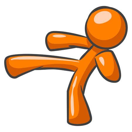 delito: Hombre de color naranja que se plantean y de una patada de karate.