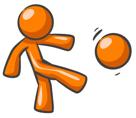 football kick: Orange Man kicking a ball or the head of another orange man.