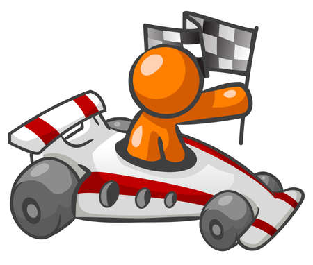 Orange Man Sitting in a race car and holding a checkered flag.  Illustration