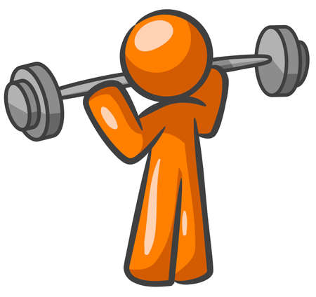 Orange Man lifting weights and working out. Çizim