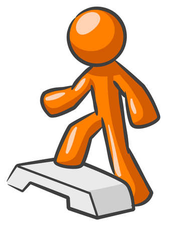 stepping: Orange Man stepping up onto something. Possibly an abstract concept in stepping up to success.