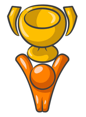 triumphant: Orange Man Holding a trophy above his head and victorious over a win.