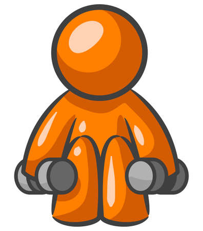 1 person: Orange Man working out with small weights.