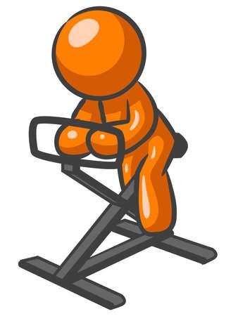 Orange Man on a work out bike, peddling.  Illustration