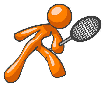 An orange woman with a tennis racket ready to play.