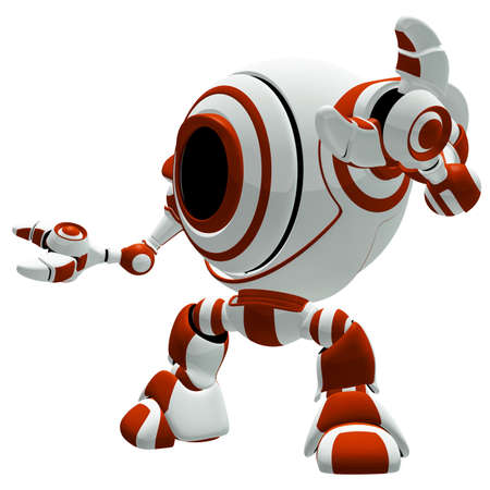 A small robot in a defensive pose, with his arms spread out, almost in awe.  photo