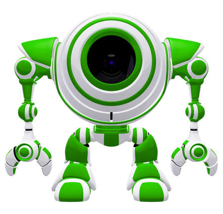 A Small robot standing straight up in a disciplined pose. Or maybe he is just resting!  Stock Photo - 3403941