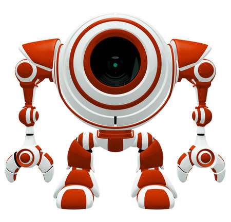 maybe: A Small robot standing straight up in a disciplined pose. Or maybe he is just resting!