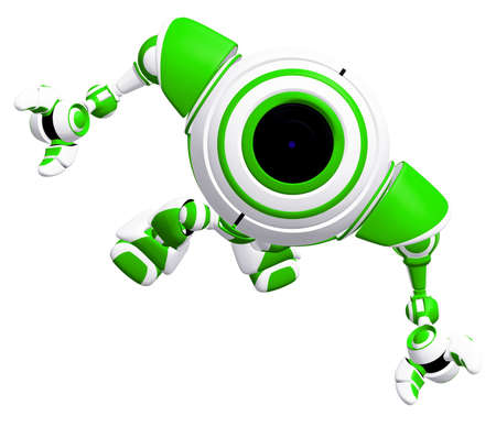 awe: A small robot looking up toward the sky in awe.