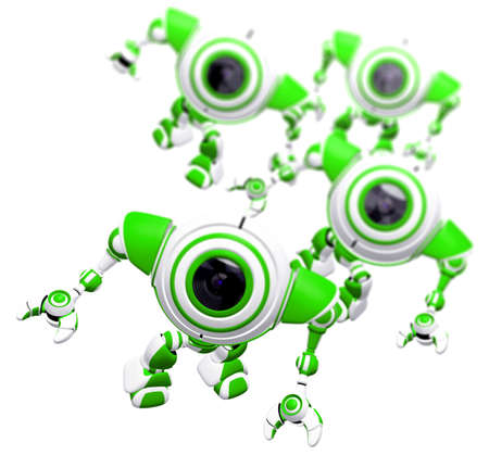 awe: A group of robots standing together and looking up at the viewer in awe. Depth of field effect.