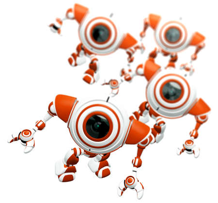 A group of robots standing together and looking up at the viewer in awe. Depth of field effect.  photo