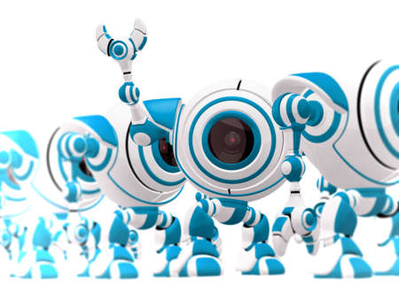 A small robot standing in line, waving hi, and standing out from his position.  photo