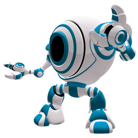 A small robot in a defensive pose, with his arms spread out, almost in awe.  Stock Photo