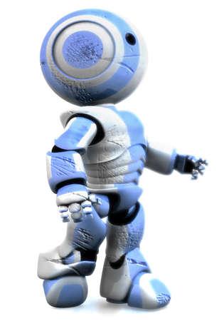 robot: Wydawania mojej 3d robot wziąwszy poważne szkody przez przeciwników. W tym obrazie, wydaje się on wysiadł z wraku i patrzy w górę, z determinacją. Zdjęcie Seryjne