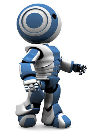 A blue and white robot walking forward in determination. Or maybe he has just come off the assembly line and is looking at the new world before him! photo