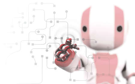 circuitry: A red and white robot pointing his finger against a transparent window of circuitry and programming. Slight DOF Stock Photo